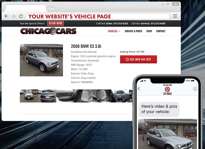 TEXTvehicle sends a text message to potential customers from your website and captures the lead's information