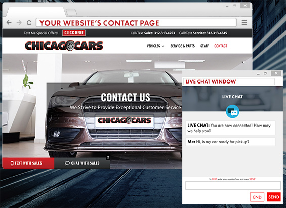 LIVEchat answers consumers questions directly from your website without standing foot into your dealership