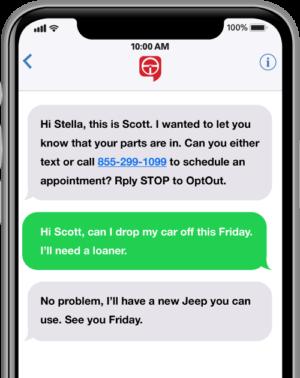 service de messagerie mobile de pièces de rechange text2drive
