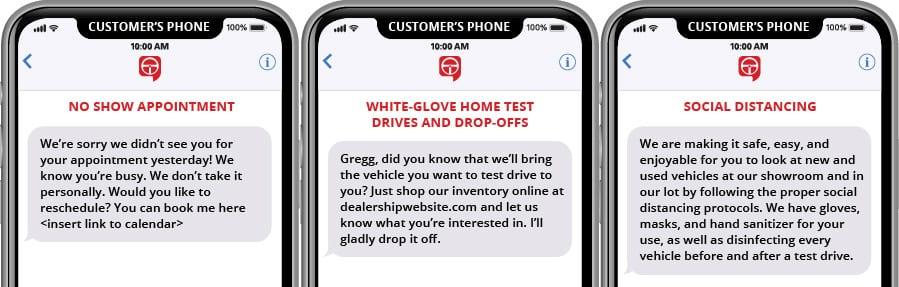 Plantillas de reprogramación de cita de no presentación, prueba de manejo en casa de White Glove y marketing de texto de distanciamiento social