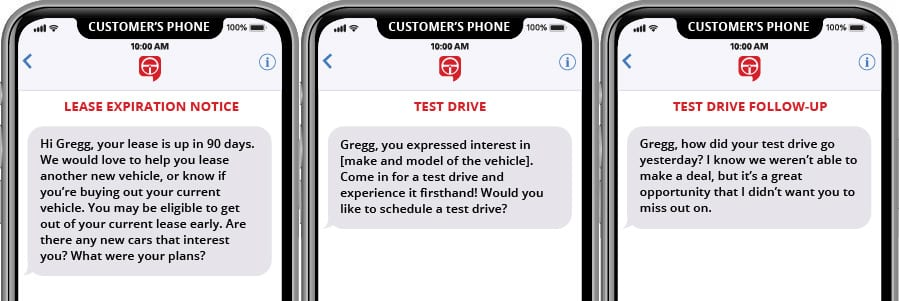 Lease Expiration, Test Drive and Follow Up Text Marketing Templates