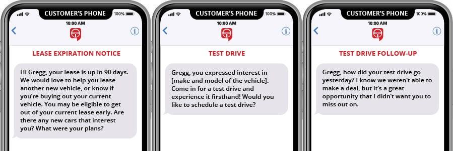 Plantillas de marketing de texto de seguimiento, prueba de conducción y vencimiento del arrendamiento