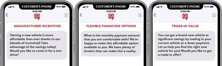 Plantillas de marketing de texto de incentivos para fabricantes, opciones de financiación flexibles y valor de intercambio