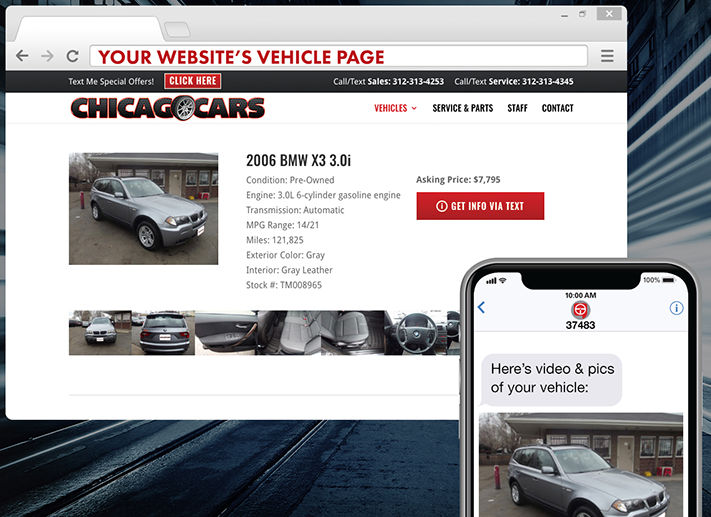 image showing to how to click a button to have a vehicle's information delivered via text