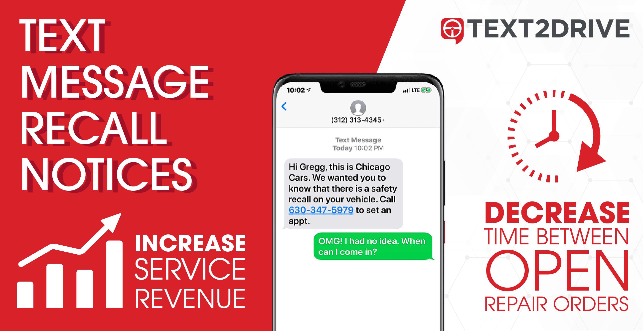 Los avisos de recuperación de mensajes de texto aumentan los ingresos del servicio disminuyen el tiempo entre las RO abiertas