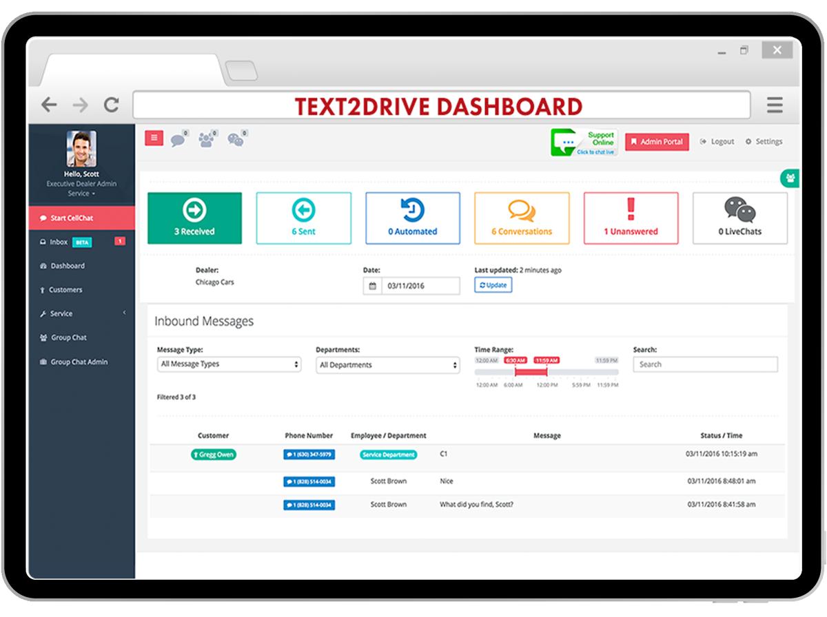 comunicación de servicio al cliente text2drive en una tableta
