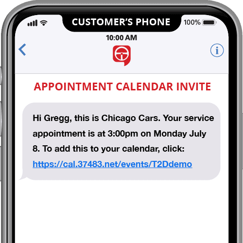 appointment calendar invite - automated text message reminder