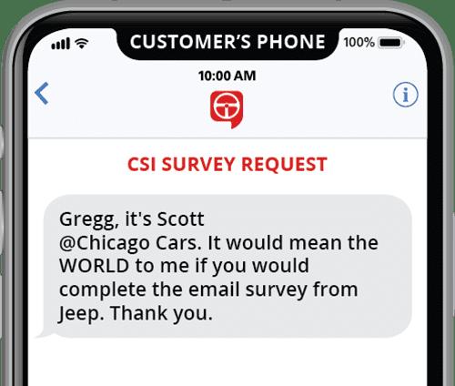 automated csi survey request template via text message