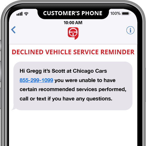 declined vehicle service reminder - automated text message template