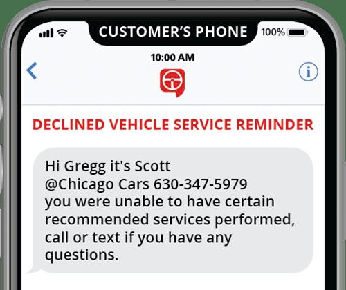 plantilla de recordatorio de mensaje de texto automatizado para servicios de vehículos rechazados