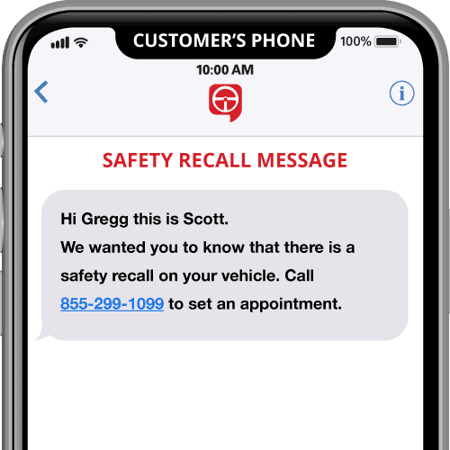 vehicle safety recall automated text message template