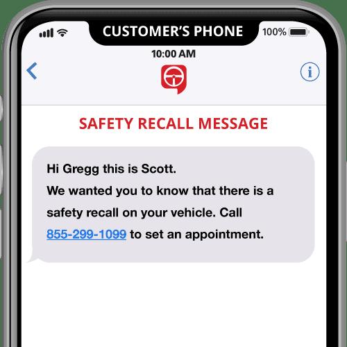 Mensaje de recuperación de seguridad de text2drive en el móvil