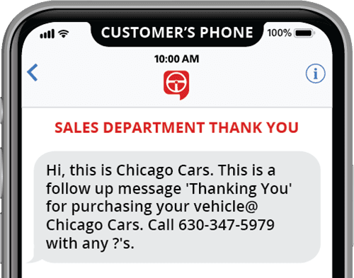 automated sales department thank you text template