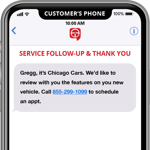 service department intro - automated text message template