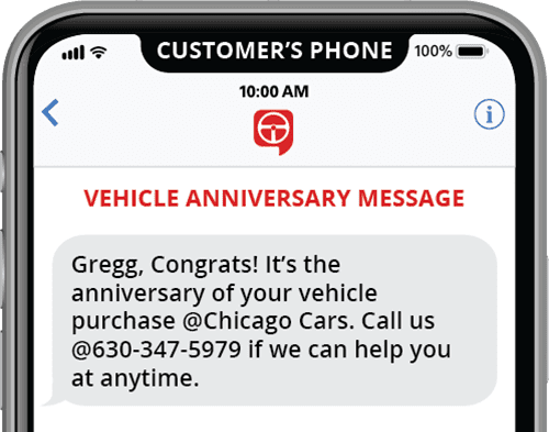 automated vehicle anniversary text message template