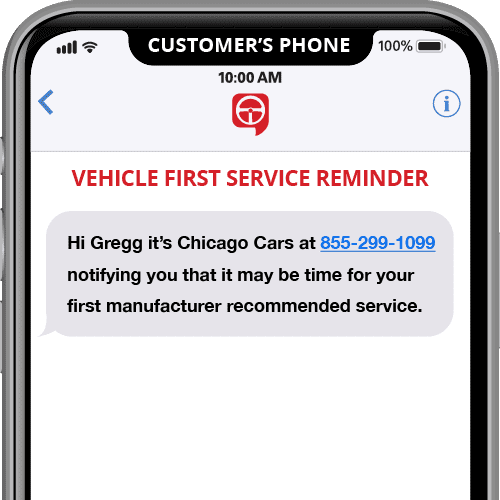 vehicle first service reminder - automated text message template