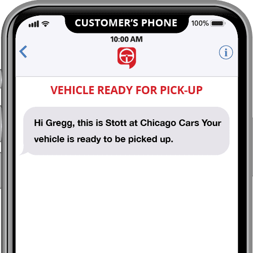 vehicle ready for pickup - automated text message template