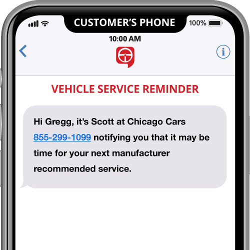 vehicle service reminder- automated text message template