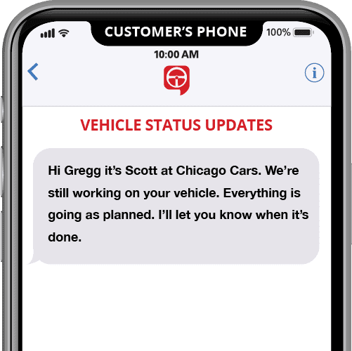 vehicle status updates - automated text message template