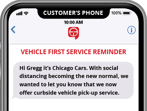 automated appointment reminder text message with curbside service notification