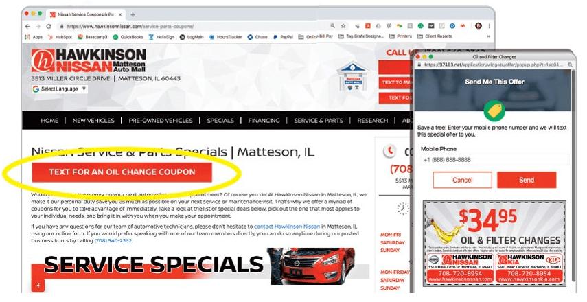 hawkinson nissian utiliza las funciones del sitio web interactivo de text2drive para generar ingresos