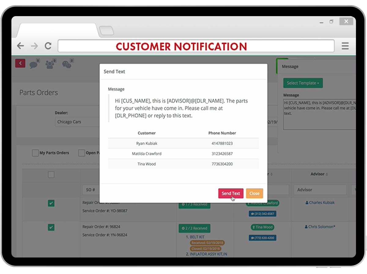 notification client text2drive sur une tablette