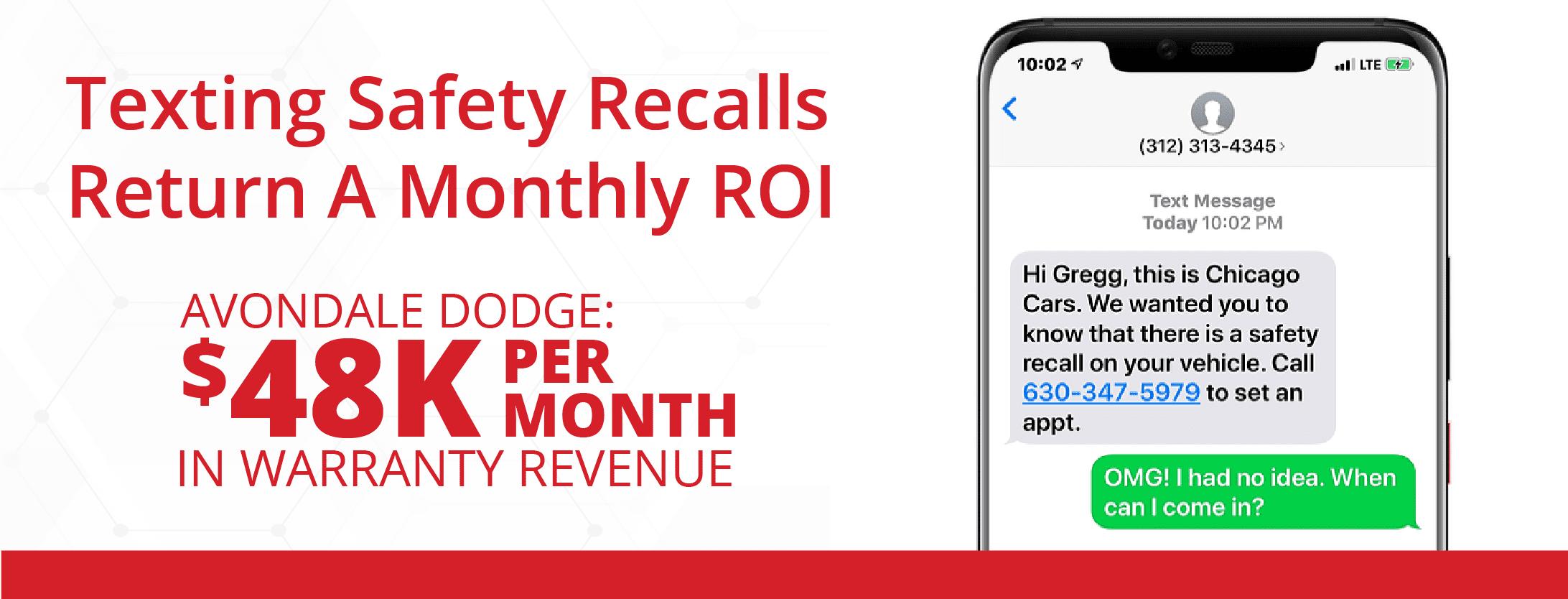 los retiros de seguridad por mensajes de texto arrojaron un ROI mensual de $ 48k en ingresos de garantía