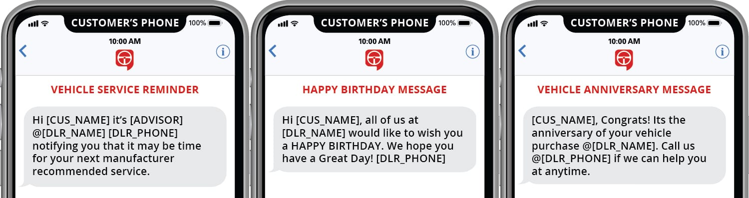 vehicle service reminder happy birthday message vehicle anniversary message text message templates